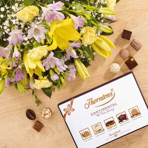 Lily and Freesia Bouquet & Continental Chocolate Box