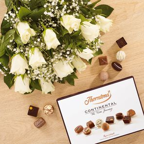 Dozen White Roses and Continental Chocolate Box tablet