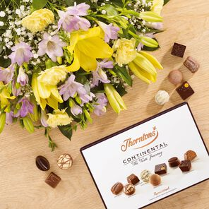 Lily and Freesia Bouquet and Continental Chocolate Box tablet
