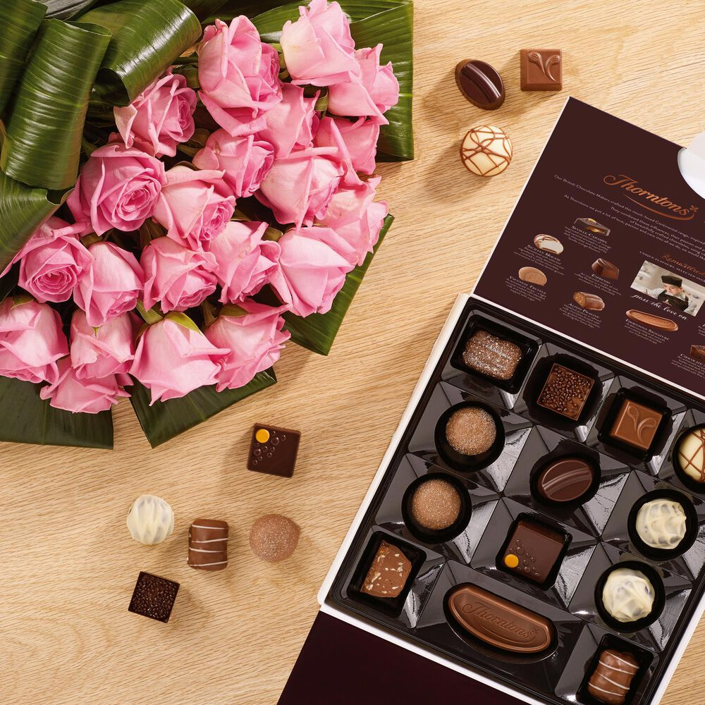 20 Premium Pink Roses And Continental Parcel Chocolate
