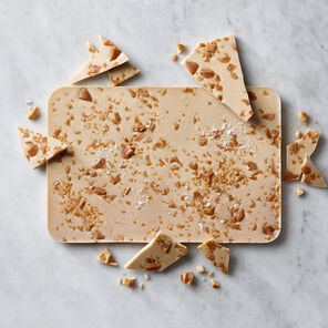 Caramel White Chocolate With Salted Toffee Block tablet
