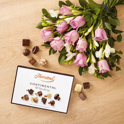 Roses and Freesia Bouquet and Continental Chocolate Box