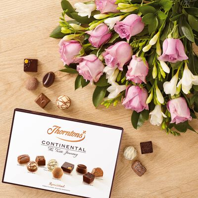 Roses and Freesia Bouquet and Continental Chocolate Box desktop