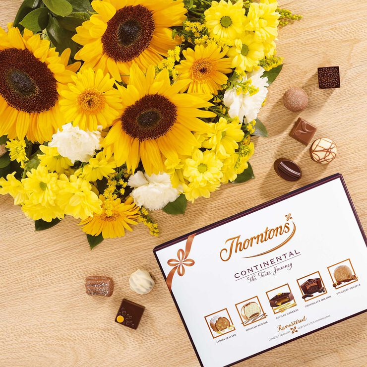Sunflower Bouquet & Continental Chocolate Box