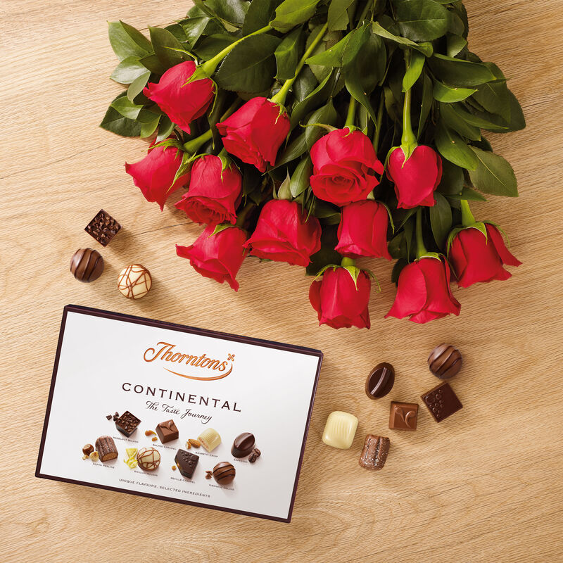 Dozen Red Roses and Continental Chocolate Box