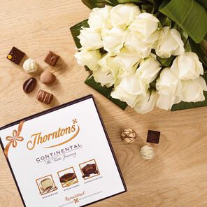 Premium White Roses Bouquet & Continental Box tablet