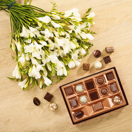 White Freesia Bouquet and Continental Chocolate Box