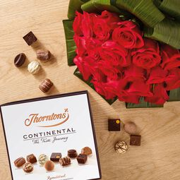 Premium Red Roses Bouquet and Continental Parcel