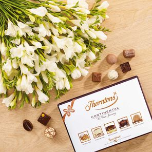 White Freesia Bouquet & Continental Chocolate Box tablet