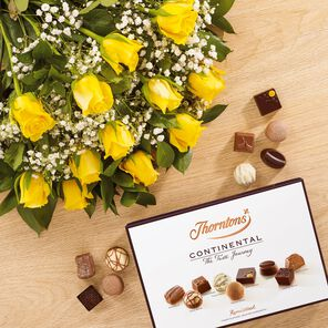 Dozen Yellow Roses and Continental Chocolate Box tablet