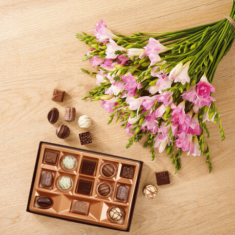Pink Freesia Bouquet and Continental Chocolate Box