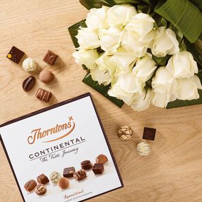 Premium White Roses Bouquet and Continental Box tablet