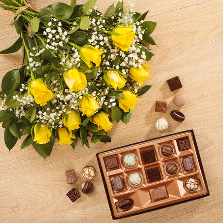 Dozen Yellow Roses and Continental Chocolate Box