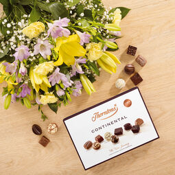 Lily and Freesia Bouquet and Continental Chocolate Box