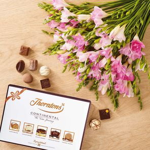 Pink Freesia Bouquet & Continental Chocolate Box tablet