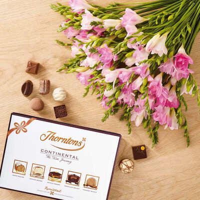 Pink Freesia Bouquet & Continental Chocolate Box desktop