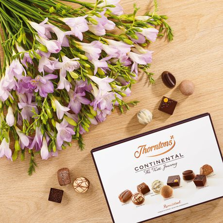 Lilac Freesia Bouquet and ContinentalChocolate Box