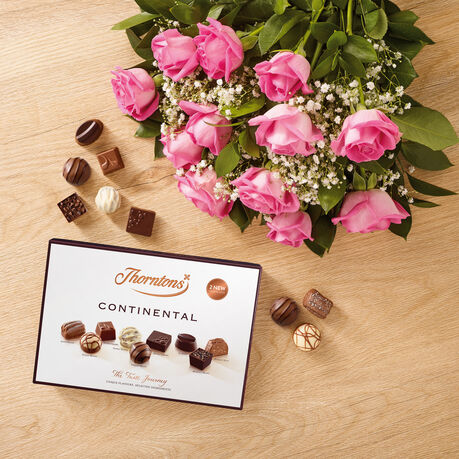 Dozen Pink Roses and Continental Chocolate Box