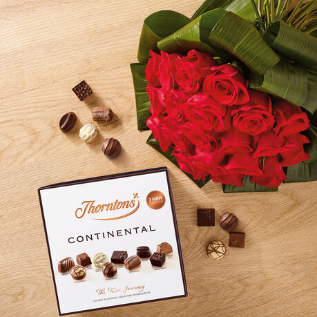 Premium Bouquet of 20 Red Roses and a Continental Parcel