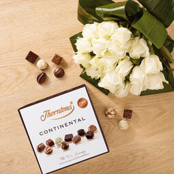 Premium Bouquet of 20 White Roses and a Continental Parcel