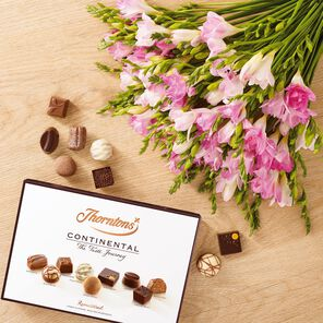 Pink Freesia Bouquet and Continental Chocolate Box tablet