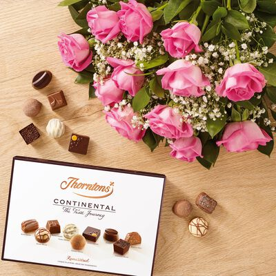 Dozen Pink Roses and Continental Chocolate Box desktop