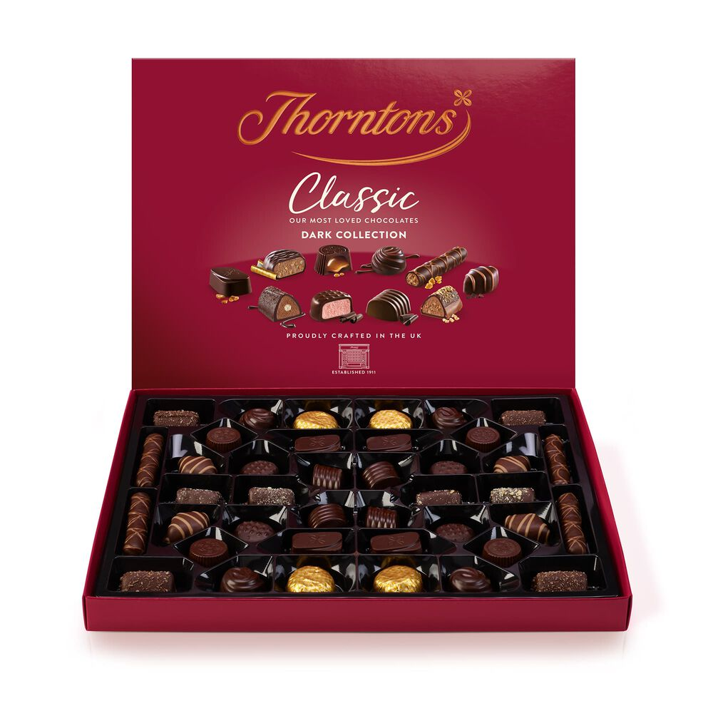 dark classic collection 444g boxes of chocolates thorntons. Black Bedroom Furniture Sets. Home Design Ideas
