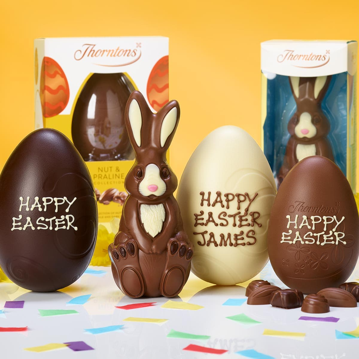 Three personalised chocolate Easter eggs and a chocolate Easter Bunny