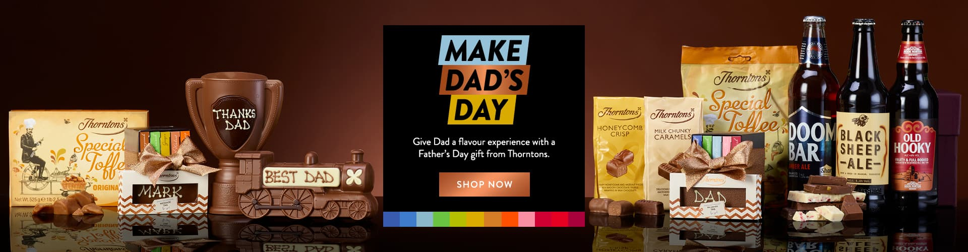 selection of personalised and non personalised Father's Day chocolate products from Thorntons.