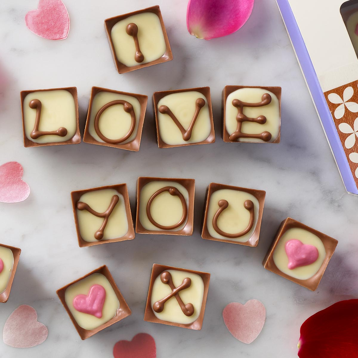 image of Thorntons Alphabet Truffles with personalised message