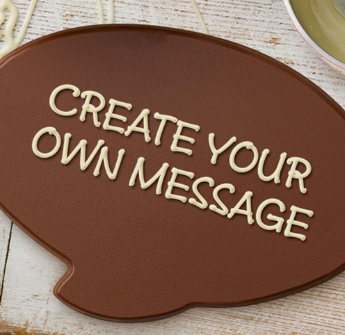 Let your loved ones know how much they mean to you with a delicious, personalised, milk chocolate speech bubble plaque.