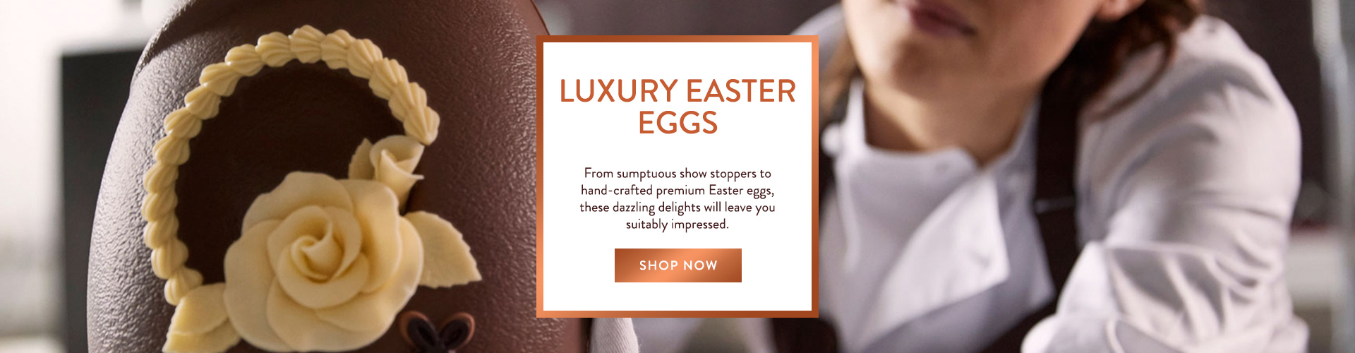 Intricately embellished with chocolate petals, this beautiful Easter gift has been exquisitely crafted by hand. Adorned with a showstopping combination of delicious milk and white chocolate, it's sure to impress your loved one.