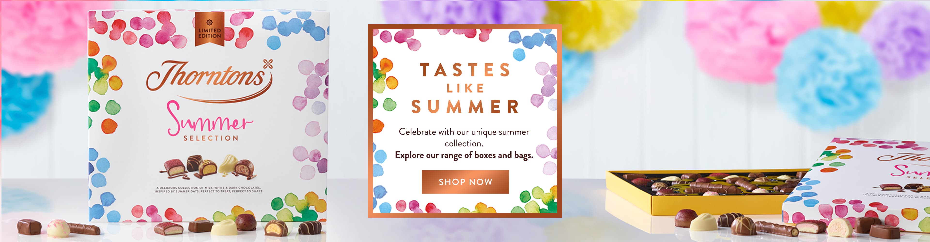 Summer is a season of celebration! Thorntons unique and personalised chocolates are just the thing.