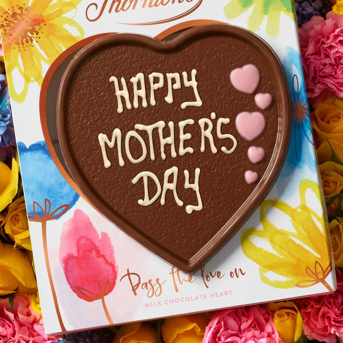 """Heart shaped chocolate with """"Happy Mother's Day"""" iced message"""