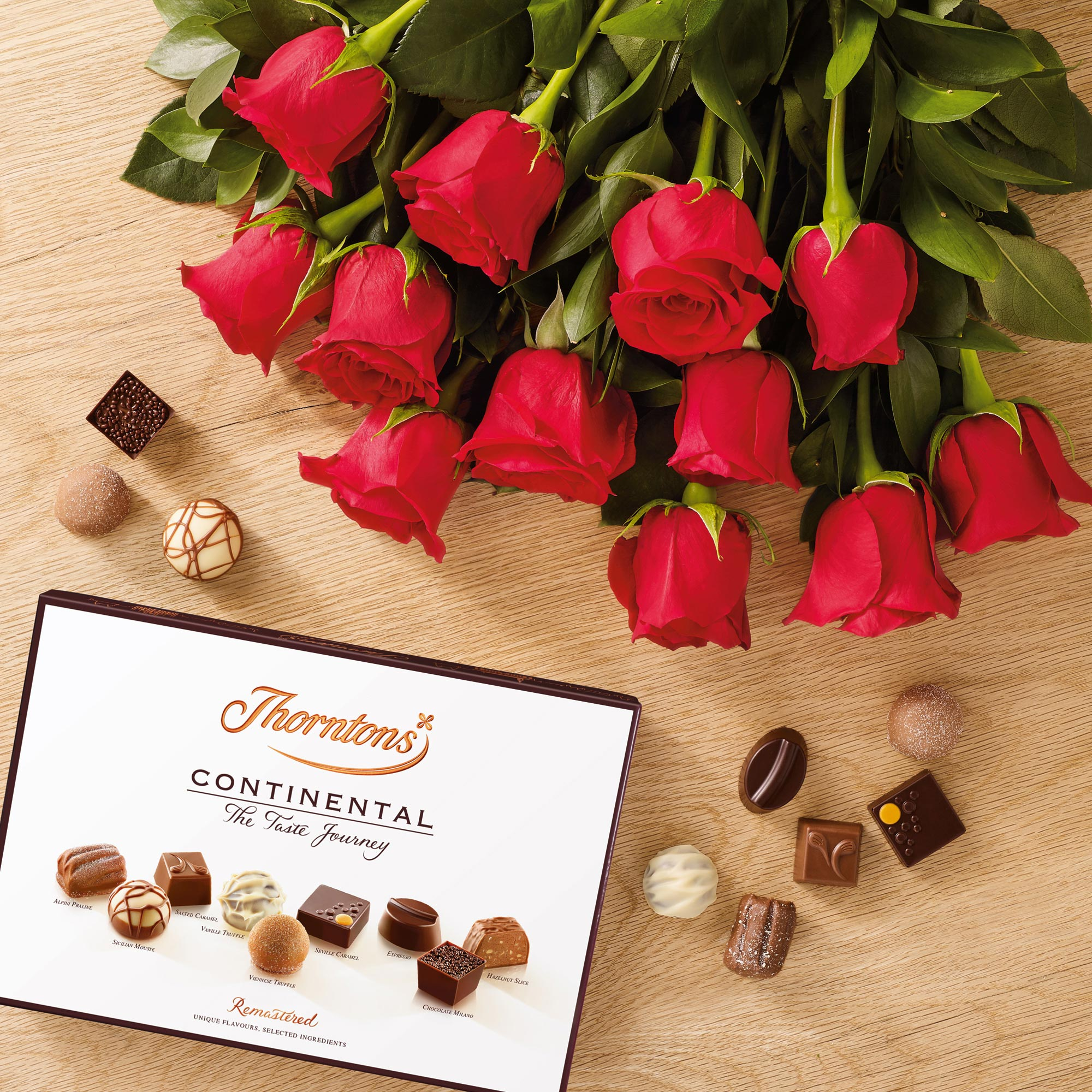 Dozen Red Roses And 142g Continental Chocolate Flowers Thorntons